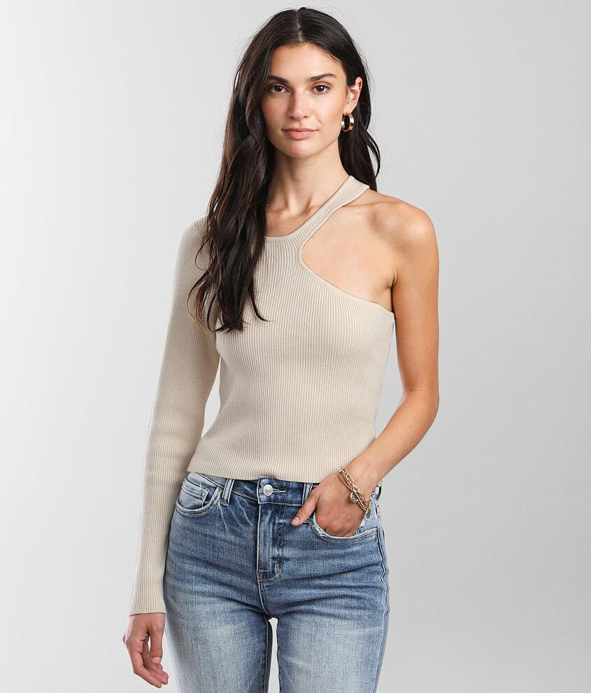 LE LIS One Shoulder Cut-Out Cropped Sweater front view