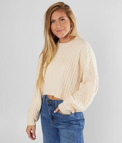 LE LIS Cable Ribbed Pullover Sweater