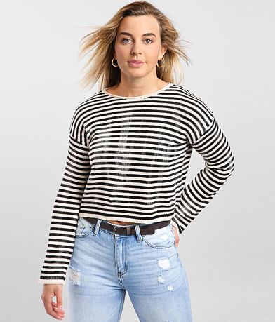 LE LIS Striped Crew Neck Pullover