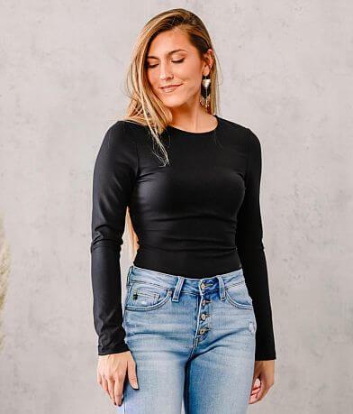 LE LIS Open Lace-Up Back Bodysuit