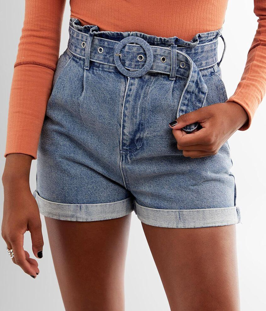 LE LIS High Rise Pleated Paperbag Short front view
