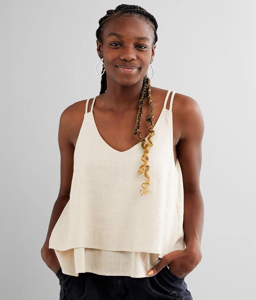 LE LIS Tiered Ruffle Linen Blend Tank Top front view