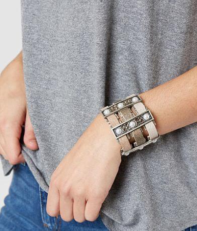Leatherock Metal Bars Leather Bracelet
