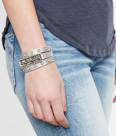 Leatherock Faux Pearl Metallic Leather Bracelet