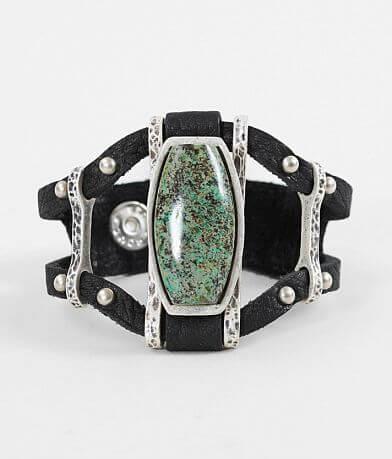 Leatherock Turquoise Stone Leather Bracelet