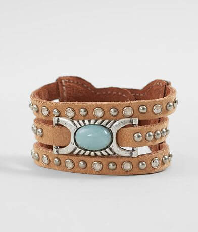 Leatherock Turquoise Stone Leather Bracelet