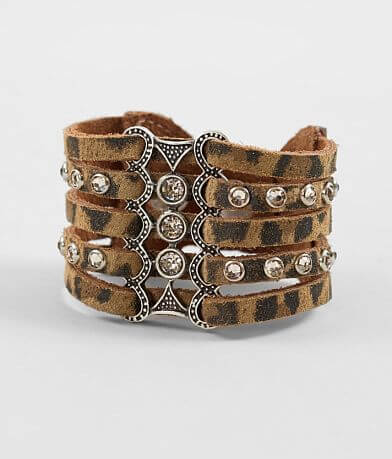 Leatherock Strappy Cheetah Leather Bracelet