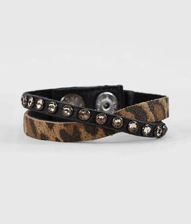 Leatherock Cheetah Print Leather Bracelet