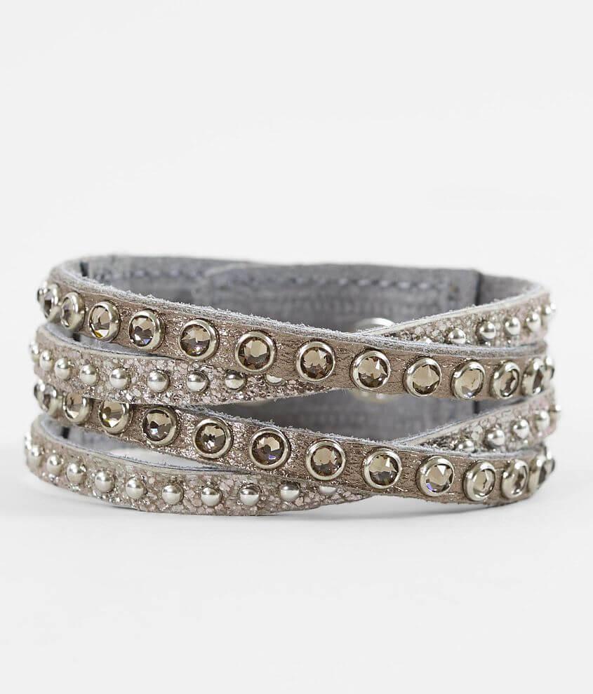 Leatherock Metallic Leather Bracelet front view