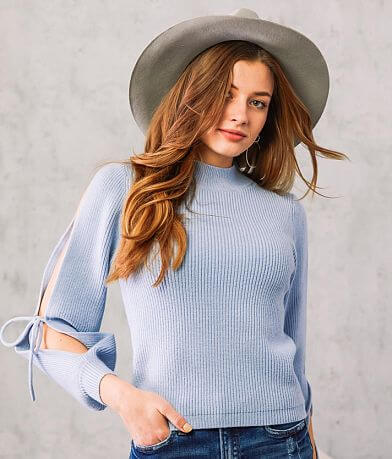 Willow & Root Lace-Up Mock Neck Sweater