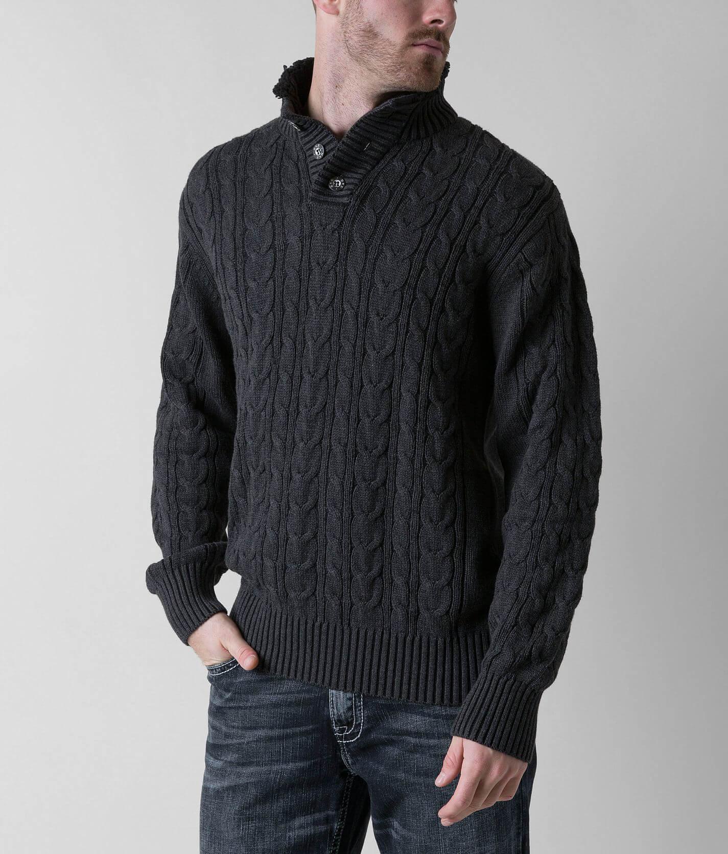 Bke Zion Henley Sweater Mens Sweaters In Black Buckle