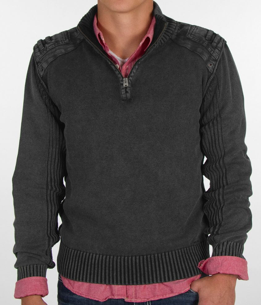 Buckle Black Ribbed Sweater front view