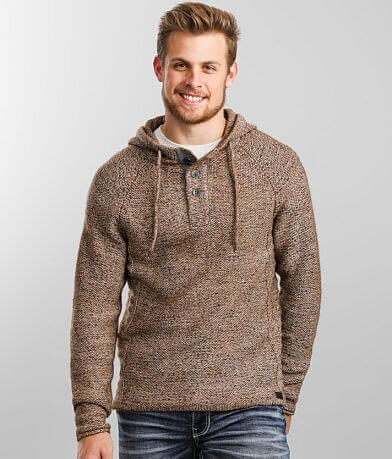 Outpost Makers Mixed Yarn Hooded Henley Sweater