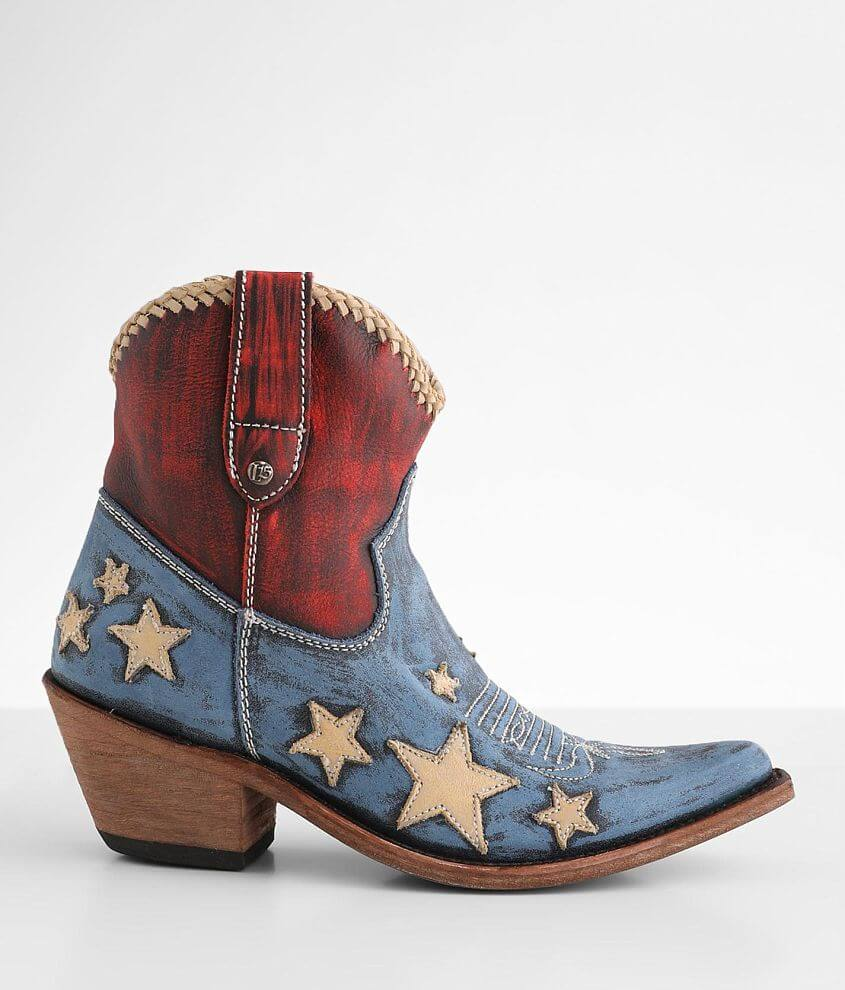 Liberty Black Americana Leather Western Ankle Boot front view