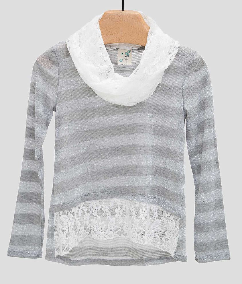 Girls - Lily Bleu Striped Sweater front view