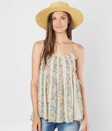 Lily White Floral Pleated Tank Top
