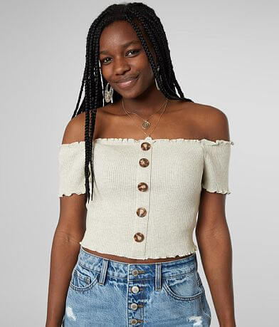 june & hudson Off The Shoulder Cropped Top
