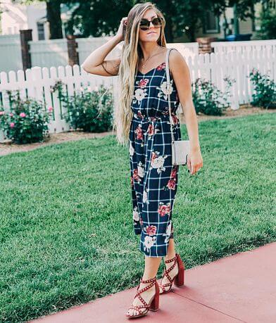 As U Wish Plaid Wide Leg Jumpsuit