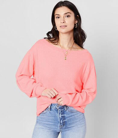 BKE Brushed Neon Wide Neck Top