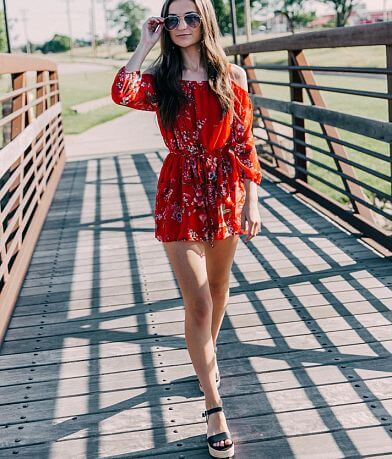 As U Wish Floral Cold Shoulder Romper