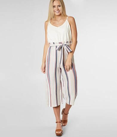 As U Wish Textured Paperbag Cropped Jumpsuit