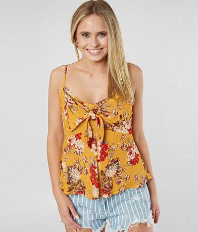 Lily White Floral Front Tie Tank Top
