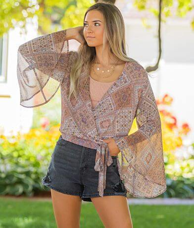 Willow & Root Floral Chiffon Surplice Top