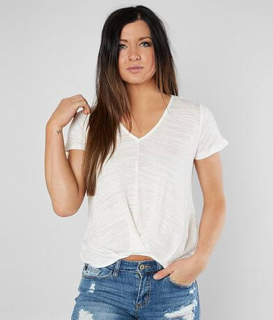 Lily White Pintuck High Low Hem Top