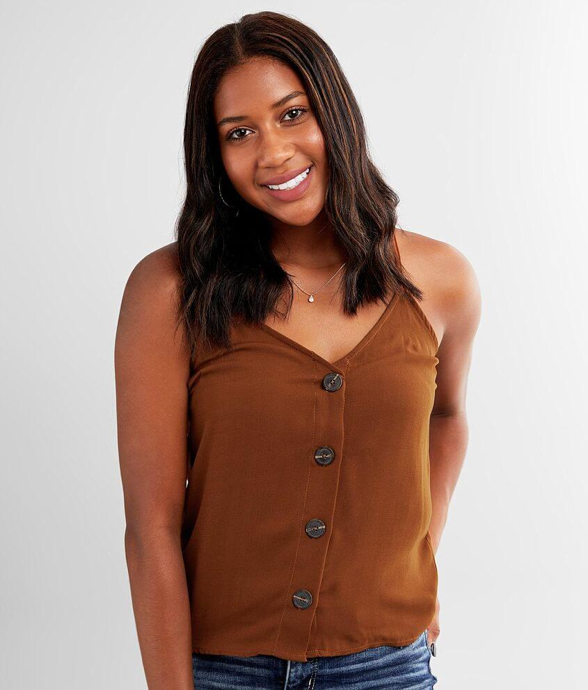 Lily White Woven V-Neck Tank Top front view