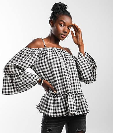 Caution To The Wind Cold Shoulder Gingham Top