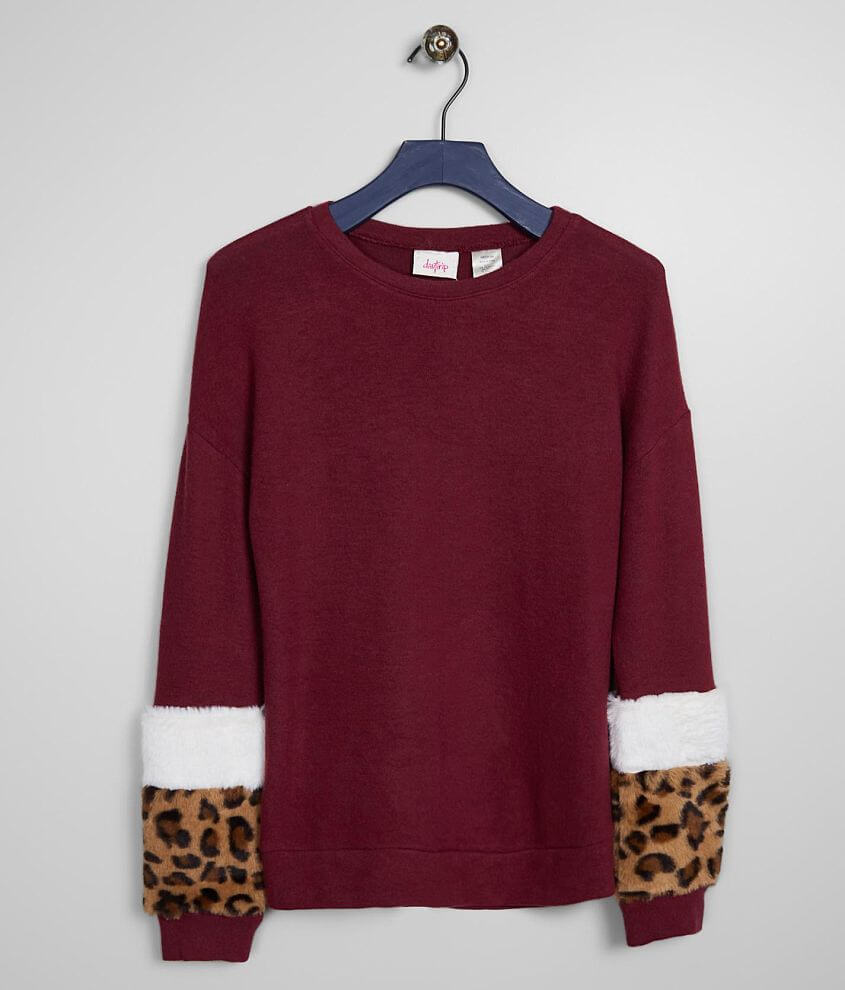 Girls - Daytrip Leopard Faux Fur Pullover front view