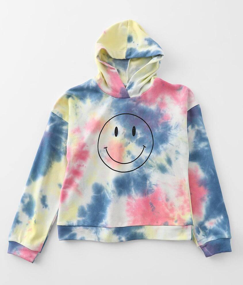 Girls - Modish Rebel Smiley Face Hooded Sweatshirt front view