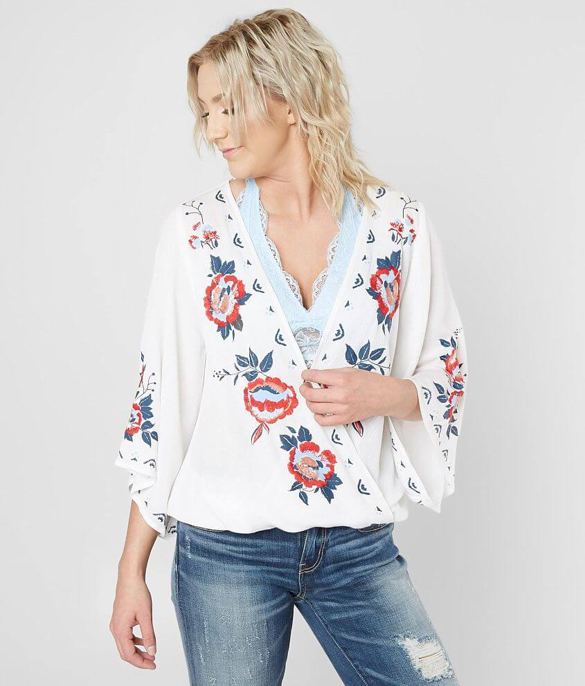 5c0f7f6bcd12f2 Daytrip Floral Surplice Top - Women's Shirts/Blouses in White | Buckle
