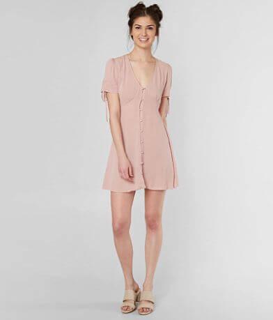 Living Doll V-Neck Crinkle Dress