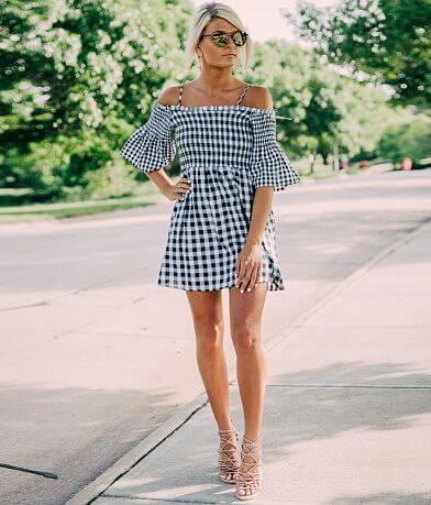 Loveriche Cold Shoulder Gingham Dress