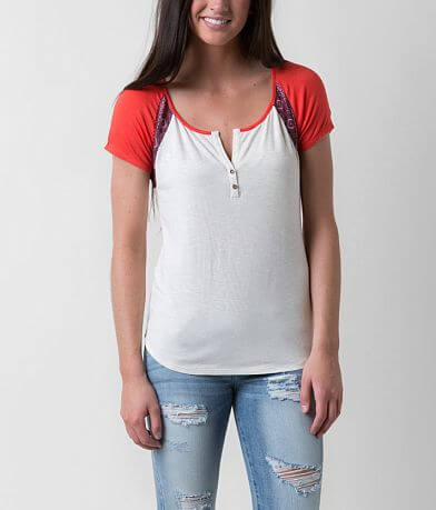 Love on Tap Lace Henley Top