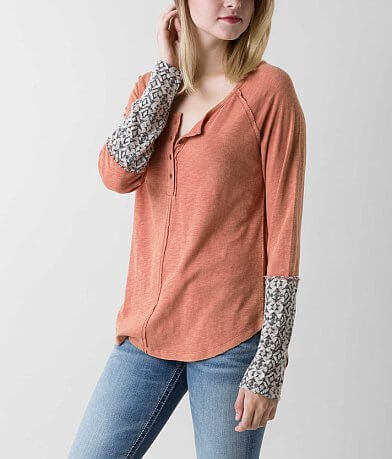 Love on Tap Slub Fabric Henley Top