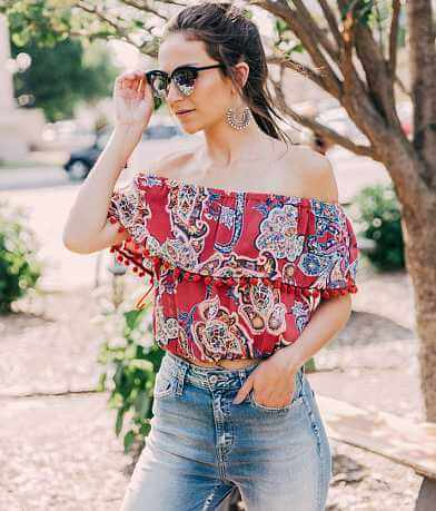 Paper Crane Off The Shoulder Cropped Top