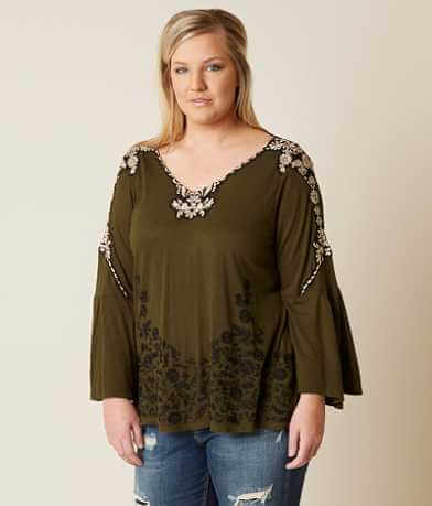 Lucky Brand Embroidered Top - Plus Size Only