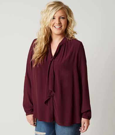 Lucky Brand Solid Blouse - Plus Size Only