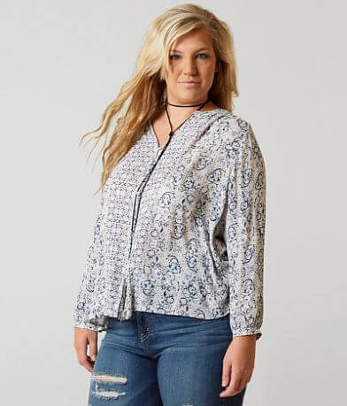 Lucky Brand Peasant Top - Plus Size Only