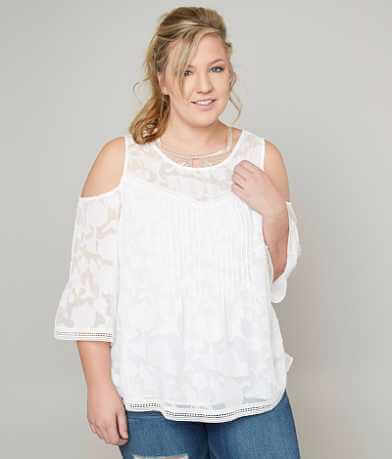 Lucky Brand Cold Shoulder Top - Plus Size Only