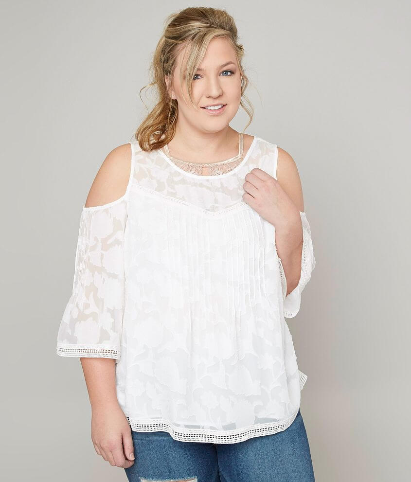 7016200df5323 Lucky Brand Cold Shoulder Top - Plus Size Only - Women s Shirts ...