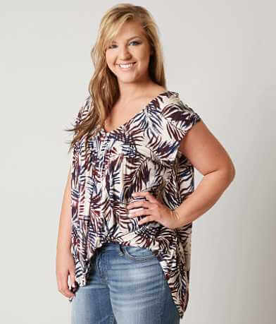 Lucky Brand Palm Leaf Tank Top - Plus Size Only
