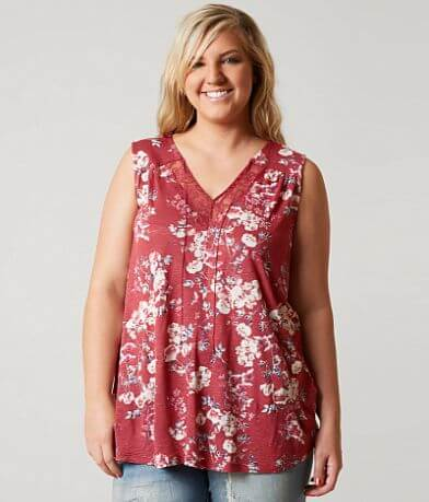 Lucky Brand Wildflower Tank Top - Plus Size Only