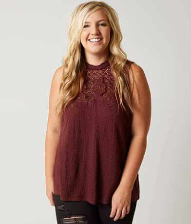 Lucky Brand Mock Neck Tank Top - Plus Size Only