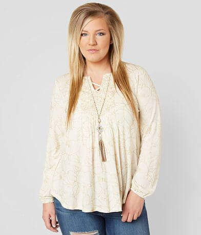 Lucky Brand Metallic Top - Plus Size Only