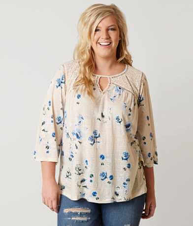 Lucky Brand Floral Peasant Top - Plus Size Only
