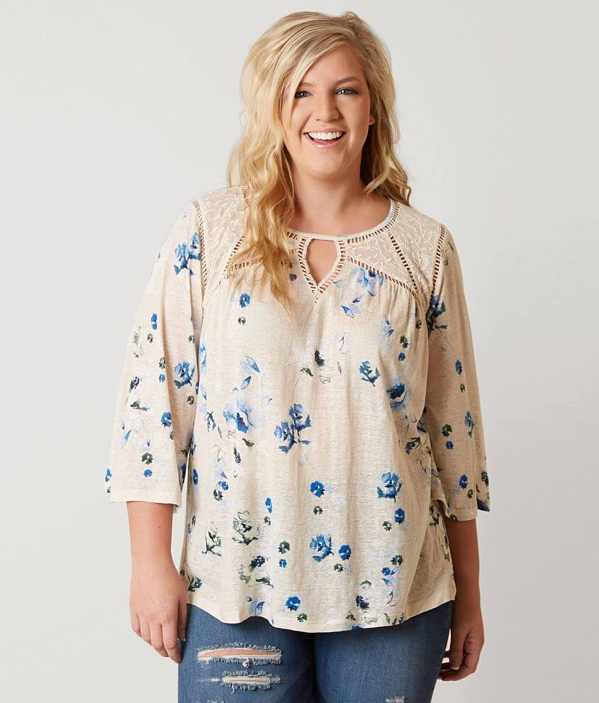 bfc5ce0db5d39 Lucky Brand Floral Peasant Top - Plus Size Only - Women s Shirts ...