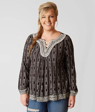 Lucky Brand Drop Needle Top - Plus Size Only